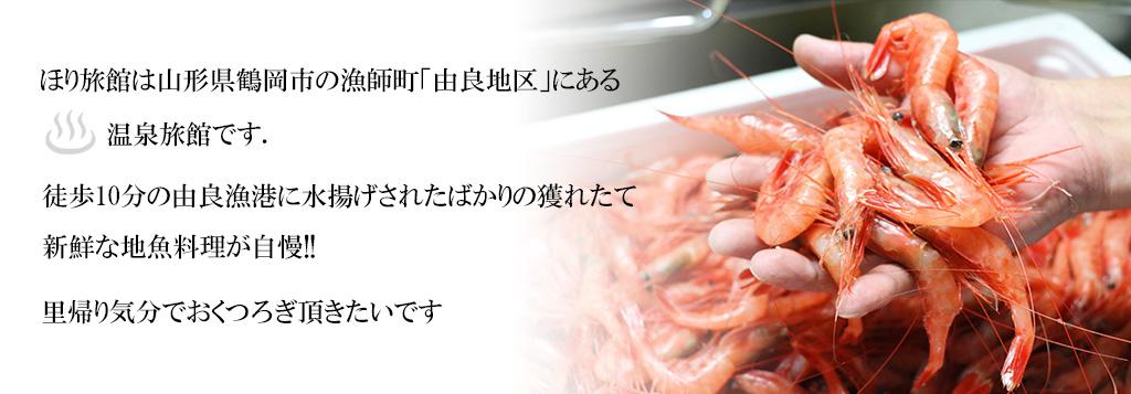 ほり旅館は山形県鶴岡市の漁師町「由良地区」にある温泉旅館です。徒歩10分の由良漁港に水揚げされたばかりの獲れたて新鮮な地魚料理が自慢!里帰り気分でおくつろぎ頂きたいです。